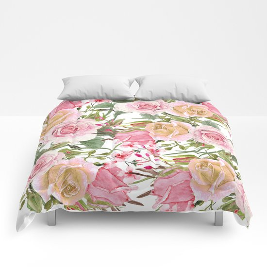 Watercolor Roses #1 Comforters