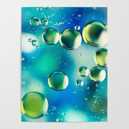 Macro Water Droplets  Aquamarine Soft Green Citron Lemon Yellow and Blue jewel tones Poster
