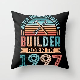 Builder born in 1997 30th Birthday Gift Building Throw Pillow
