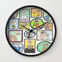 furry Wall Clocks featuring Furry Foodies by The Dapper Jackalope
