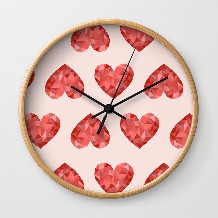 Gem hearts (PANTONE OF THE YEAR 2019) Wall Clock