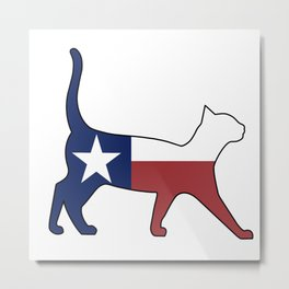 State of Texas Flag for Cat Lovers Metal Print