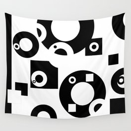 Black& White Rings Rectangle Wall Tapestry
