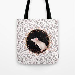 Beautiful nosey Mouse with flower background- Animal - mice - flowers Tote Bag