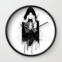 bones Wall Clocks featuring Bones by Jaaaiiro