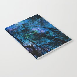 Black Trees Teal Purple Space Notebook