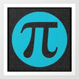 First 10,000 digits of Pi, blue on black. Art Print