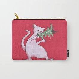 Funny Fat White Cat Eats Christmas Tree Carry-All Pouch