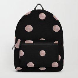 Happy Polka Dots Rose Gold on Black #1 #decor #art #society6 Backpack