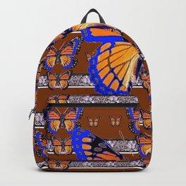 COFFEE BROWN BLUE MONARCHS BUTTERFLY ART Backpack