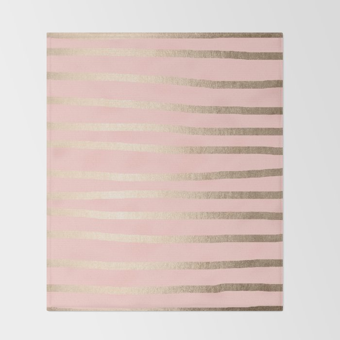 Abstract Drawn Stripes Gold C Light Pink Throw Blanket