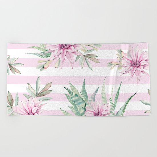 Simply Striped Cactus Desert Rose Pink Beach Towel