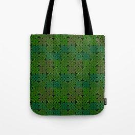 Vintage 70's Moss Green Geometric Tapestry Print Tote Bag