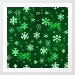 Dark Green Snowflakes Art Print