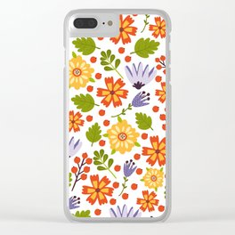 Sunshine yellow lavender orange abstract floral illustration Clear iPhone Case