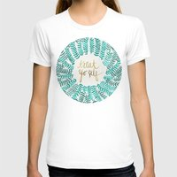 treat yo self T-shirts featuring Treat Yo Self – Gold & Turquoise by Cat Coquillette