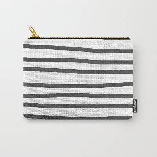Simply Drawn Stripes in Simply Gray Carry-All Pouch