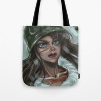 winter soldier Tote Bags featuring Winter Soldier by Soggykitten™