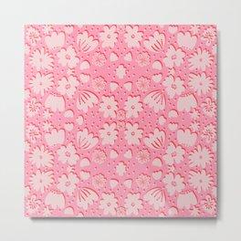 FLOWER PATCH pink monochrome Metal Print