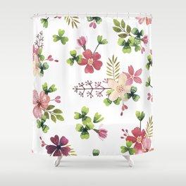 pink-green flowerbed Shower Curtain