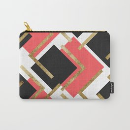 Chic Coral Pink Black and Gold Square Geometric Carry-All Pouch