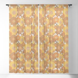 Pushing daisies Orange and brown Sheer Curtain
