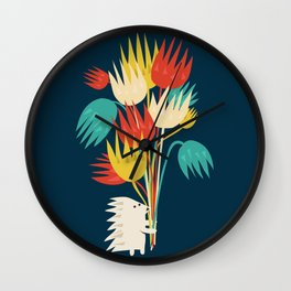 Hedgehog with flowers Wall Clock