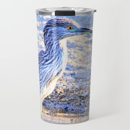 Juvenile Heron with Reflection by the Lake by Reay of Light Travel Mug