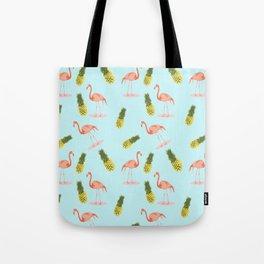 Flamingo and Pineapple Tote Bag