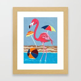 Beach Flamingo Framed Art Print