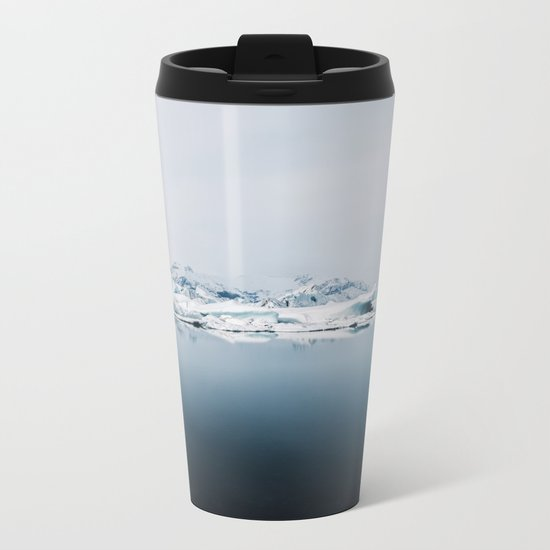 Ethereal Glacier Lagoon in Iceland - Landscape Photography Metal Travel Mug
