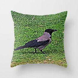 Crow of Courage Throw Pillow
