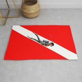 Diver And Dive Flag Rug