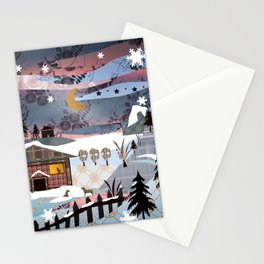 Digital illustration of Winter evening . Quilting. Patchwork . Stationery Cards
