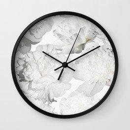 Pretty White Peonies Wall Clock