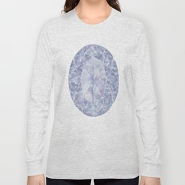 Blue Purple Oval Gem Long Sleeve T-shirt