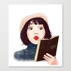 French woman with book Canvas Print