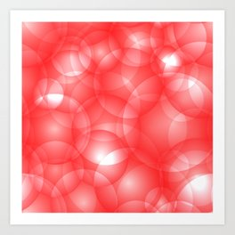 Gentle intersecting red translucent circles in pastel colors with a ruby glow. Art Print