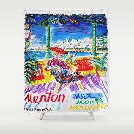 Vintage Menton France Travel Shower Curtain