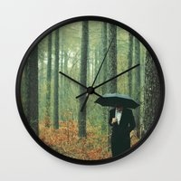suits Wall Clocks featuring Trees In Suits by Matt(ikus)
