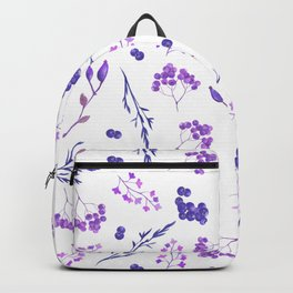 Violet lilac hand painted watercolor berries floral Backpack