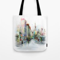 street Tote Bags featuring street by tatiana-teni