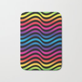Wiggly Vibrant Multicolour Lines Bath Mat