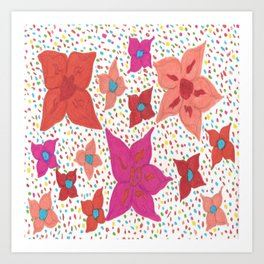 Pink and Orange Floral and Polka Dots Art Print