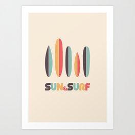 Sun & Surf Surfboards - Retro Rainbow Kunstdrucke