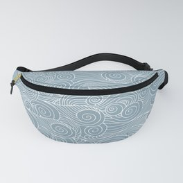 whorl pattern white blue Fanny Pack
