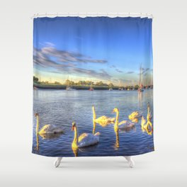 Sunset Swans Shower Curtain