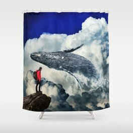 Whale in the Clouds by GEn Z Shower Curtain