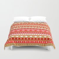 nordic Duvet Covers featuring Nordic Stripe by Faye Maguire Designs