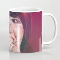 karen hallion Mugs featuring Karen O by Camila Fernandez